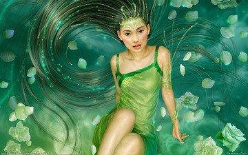 цветы, девушка, сияние, розы, лепестки, фэнтези, блеск, волосы, русалка, tang yuehui - rain of the petals, девушка в зеленом платье