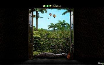 крокодил, двери, джунгли