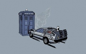 machine, booth, back to the future, the delorean, doctor who, the tardis, police, car, crash, time