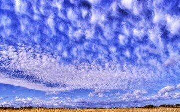 небо, синий, перистые облака