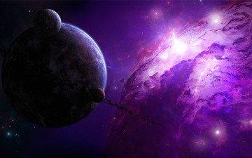 звезды, планеты, туманность, астероиды, пояс, шикарно, нарисованная