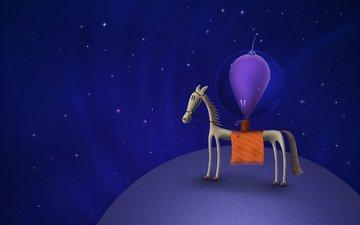лошадь, космос, звезды, планета, владстудио, инопланетянин