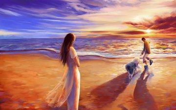 закат, романтика, прогулка