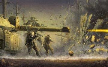 война, солдаты, огонь, забор, выстрел, танк, взрыв