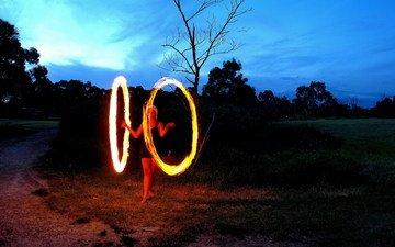 girl, fire, round