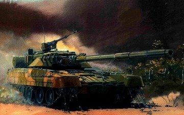 арт, зелёный, танк, пушка, пулемет
