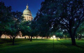 деревья, вашингтон, здание, капитолий, остин, купол, texas state capitol