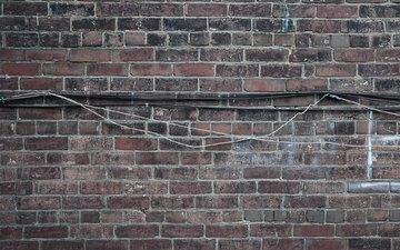 текстура, стена, кирпич, кабель
