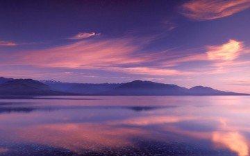 облака, озеро, горы, отражение, цвет