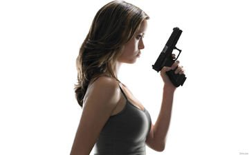 girl, weapons, gun, look, summer glau