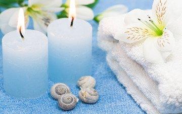 цветы, свечи, пламя, нежность, полотенце, спа