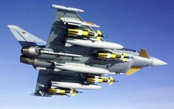 самолет, вид, истребитель, ракеты, вооружение, снизу