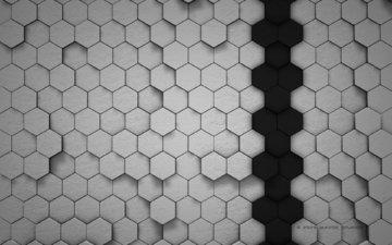 черный, серый, соты, геометрия, абстракции, ячейки, пчелинные, шестиугольник