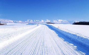 дорога, горы, зима, горизонт