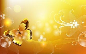 flowers, butterfly, lights