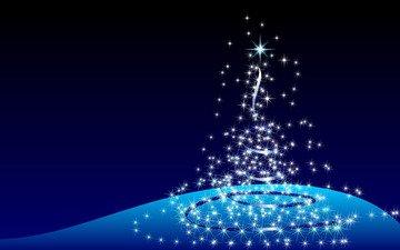 новый год, елка, синий, огоньки
