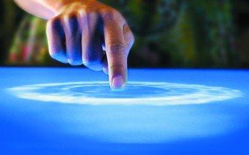 синий, палец, стол, гладь, майкрософт