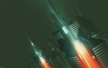 абстракт, города, будущего, amplifier404, 3д