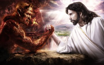 борьба, иисус, дьявол