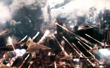 война, город, самолеты, tom clansy's, hawx