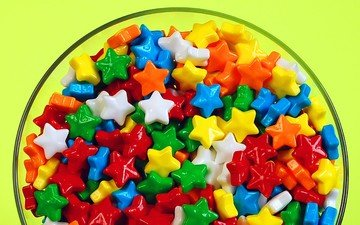 candy, stars, plate, diversity