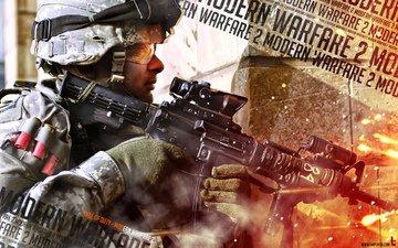 modern warfare 2, солдат, call of duty, автомат, патроны, рикошет