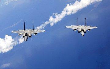 небо, самолеты, пара, патруль