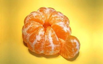 макро, фрукт, мандарин, долька мандарина