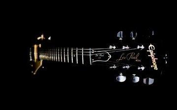 гитара, гриф, струны, калки, лады, дэка, чёрный.фон