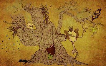 рисунок, дерево, животные