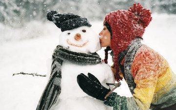 snow, winter, girl, snowman, kiss