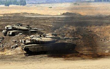 пустыня, дым, танк, меркава