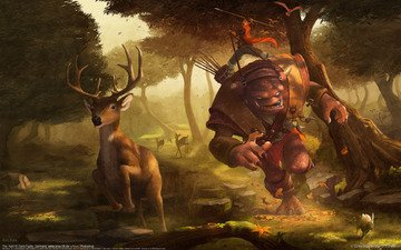 forest, deer, hunting, goblin