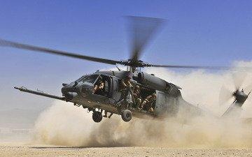 небо, пустыня, солдаты, пыль, вертолет, лопасти, посадка, hh 60g pave hawk, высадка