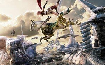 final fantasy xiii, лайтнинг, солдат армии кокона, последняя фантазия 13, пульс, blaze edge, воздушный город кокон, кокон