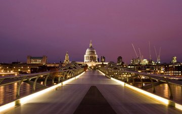 lights, the evening, cathedral, bridge, the city