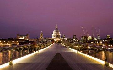 огни, вечер, собор, мост, город