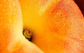 капли, персик, спелый