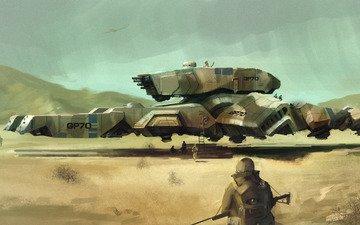оружие, пустыня, война, солдаты, техника, дредноут