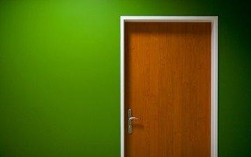 handle, green, the door