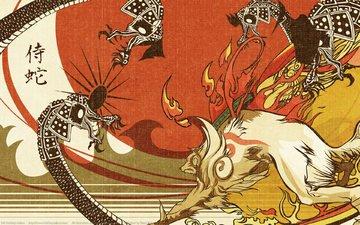 пламя, драконы, лис