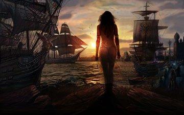закат, корабли, красавица, порт, солнца, восток, perfect sunset