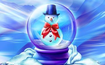 снег, новый год, зима, снеговик, рождество, детство, сказка