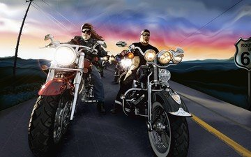 road, vector, motorcycle, sign, bikers