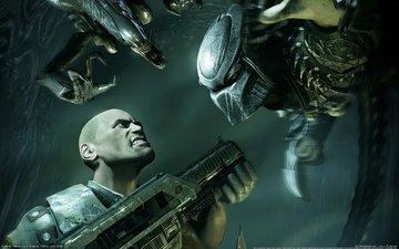 оружие, человек, чужой, хищник, автомат, aliens vs predator