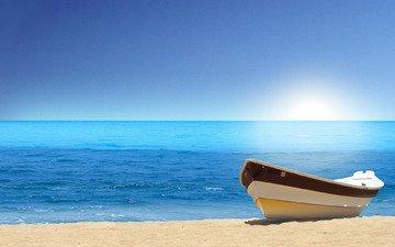 вода, песок, пляж, лодка