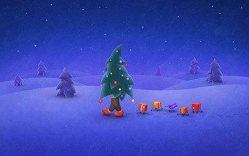 ночь, снег, елка, зима, подарки, праздник