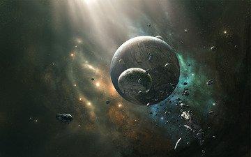 звезды, планета, луна, астероиды, столкновение