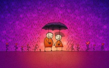дождь, любовь, зонт