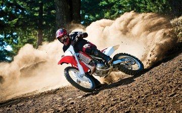 мотоцикл, пыль, трасса